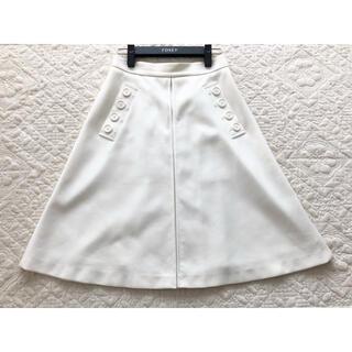 FOXEY - ★美品★FOXEY NY★ボタンデザイン タック スカート★40★ホワイト★