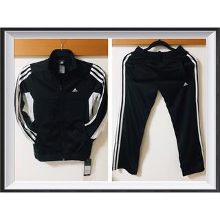 adidas - 【新品タグ付】adidas(アディダス)★ジャージ上下セット140cm★黒×白★