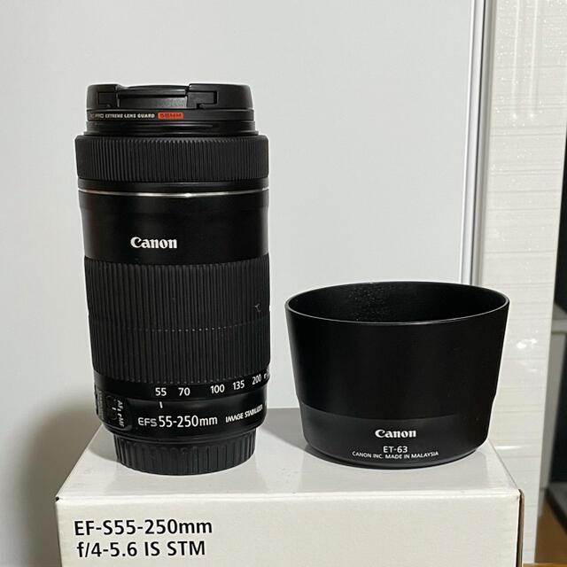 Canon(キヤノン)のCanon EF-S 55-250mm IS STM ET-63セット スマホ/家電/カメラのカメラ(レンズ(ズーム))の商品写真