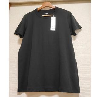 UNIQLO - UNIQLO タグ付き新品 WOMEN クルーネックT 半袖 ブラック
