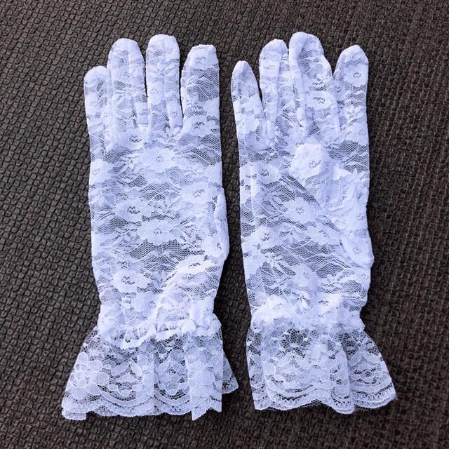 レース手袋 白 グローブ UV 紫外線カット ブライダル 日焼け止め レディースのファッション小物(手袋)の商品写真