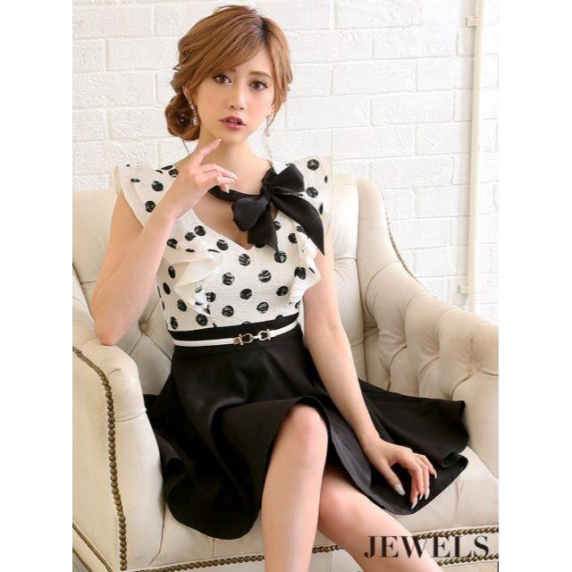 JEWELS(ジュエルズ)の専用☆JEWELS☆黒ドットフレアー♪キャバドレス☆XL レディースのフォーマル/ドレス(ナイトドレス)の商品写真