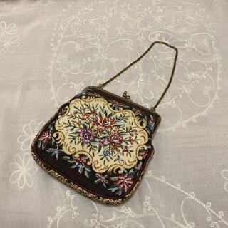 グリモワール(Grimoire)のvintageレトロ古着ゴブラン刺繍がま口bagアンティーク(ハンドバッグ)