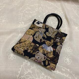 グリモワール(Grimoire)のvintageレトロ古着くまちゃんゴブラン刺繍バッグ(ハンドバッグ)