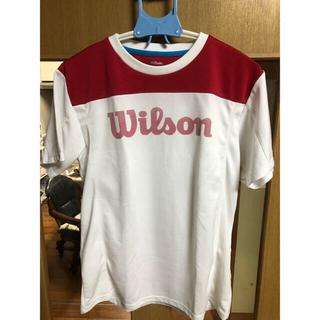 ウィルソン(wilson)のテニスウェア L ウィルソン wilson Tシャツ 半袖 メンズ 赤 白(ウェア)