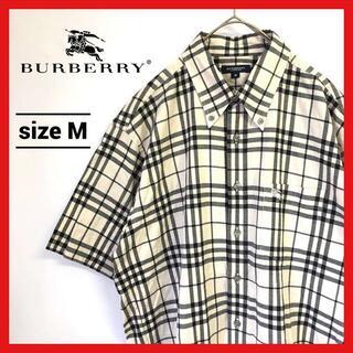 BURBERRY - 90s 古着 バーバリー 半袖チェックシャツ BDシャツ 刺繍ロゴ アイボリー