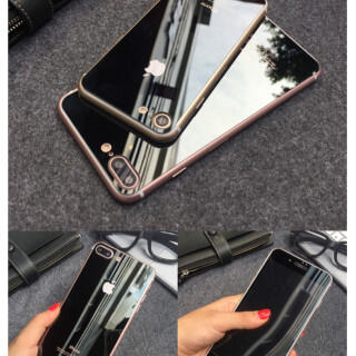 iPhone7鏡面ガラスシート ブラック