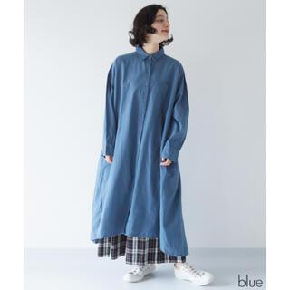 メルロー(merlot)のFillil ポケットワイドシャツワンピース ブルー(ロングワンピース/マキシワンピース)