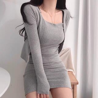 STYLENANDA - 【予約商品】《4カラー》セット キャミワンピ カーディガン 韓国ファッション 春