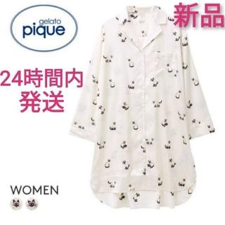 gelato pique - 【未使用】gelato pique シャムネコサテンシャツドレス 白 ジェラピケ