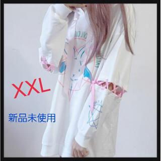 【超目玉】韓国ファッション チュニック風 うさぎ柄 パーカーワンピース 白XXL