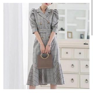 韓国ファッション チェックワンピ