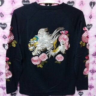 百花繚乱スウェットXL唐獅子牡丹 刺繍