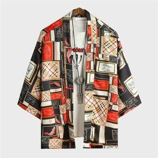 カーディガン メンズ 刺繍 着物 和服式 7分丈 羽織 カジュアル