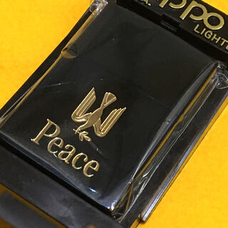ジッポー(ZIPPO)のZIPPO PEACE ブルーチタン ゴールド 限定品 良品(タバコグッズ)
