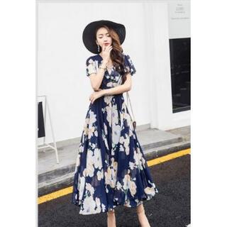 【大ヒット御礼】 花柄 マキシワンピ ロング丈 リゾート エレガント ドレス L