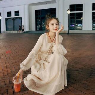 刺繍腰シフォンのワンピースの女性の春の服の新モデルの天女のスカートs-2xl