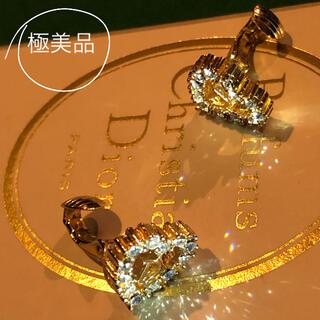 クリスチャンディオール(Christian Dior)の極美品 Dior イヤリング ゴールド色 透明ラインストーンマスクチャームにも(イヤリング)