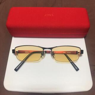 ジンズ(JINS)のJINS 度入りブルーライトカットメガネ ハーフリム ナイトユース カラーレンズ(サングラス/メガネ)