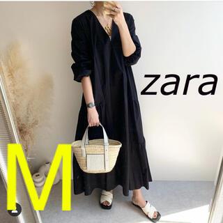 ZARA - ZARA パフスリーブ付きポプリンワンピース M