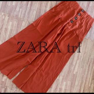 ZARA - ZARA ZARAtrf ハイウエスト ワイドパンツ  ガウチョパンツ オレンジ