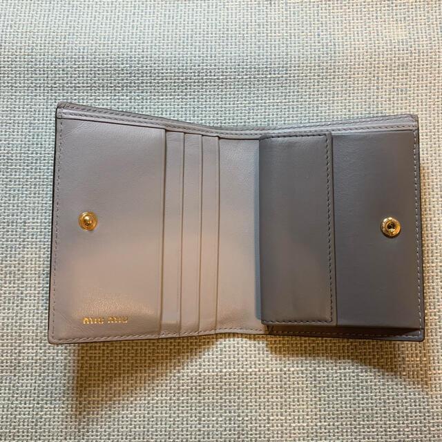 miumiu(ミュウミュウ)のmiumiu リボン付き二つ折り財布 グレー レディースのファッション小物(財布)の商品写真