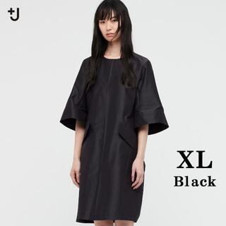 UNIQLO - 土日sale★限定XL黒 +J シルクブレンドワンピース新品