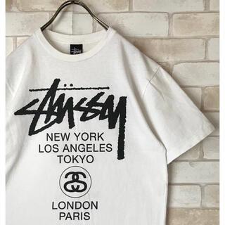 STUSSY - 古着【stussy】ステューシー ホワイト白 デカロゴTシャツ