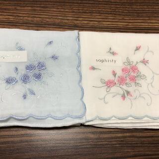 ガーゼハンカチ 花 刺繍 2枚セット(ハンカチ)