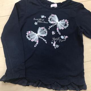 mezzo piano - 【美品】130 メゾピアノ 長袖 ロンT リボン Tシャツ ネイビー