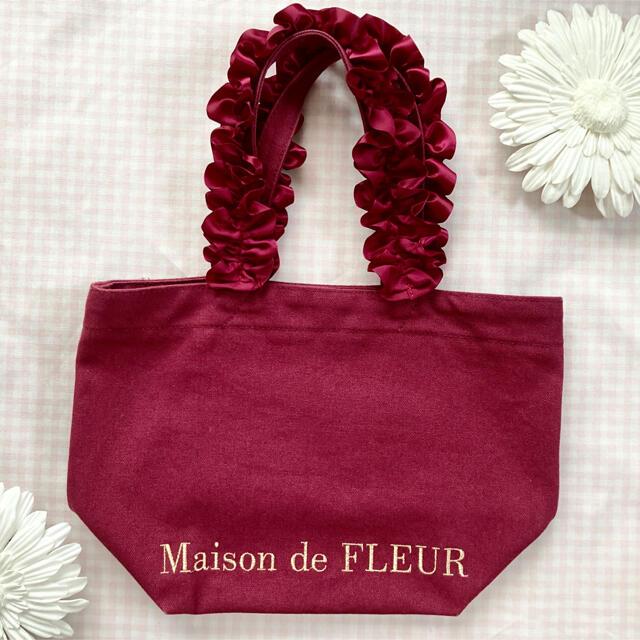 Maison de FLEUR(メゾンドフルール)のメゾンドフルール 帆布フリルハンドルトート S レディースのバッグ(トートバッグ)の商品写真