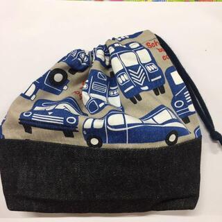 片絞り巾着 バス クラシックカー ハンドメイド 男の子 道具袋 巾着袋 グレー(バッグ/レッスンバッグ)