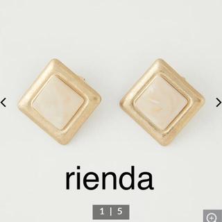 rienda - rienda マットフェイクストーンスクエアピアス WHT