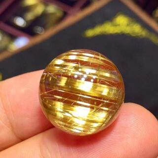 【高級】ゴールド タイチンルチル クォーツ  18.2mm(各種パーツ)