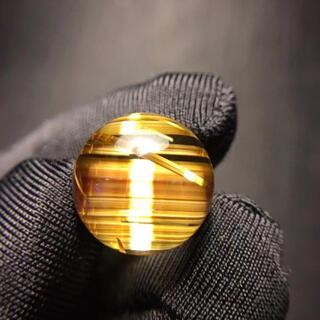 【高級】ゴールド タイチンルチル クォーツ  13.7mm(各種パーツ)