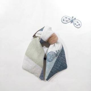 ミナペルホネン(mina perhonen)のミナペルホネン ハンドメイドロングリボンヘアゴム choucho check(ヘアアクセサリー)