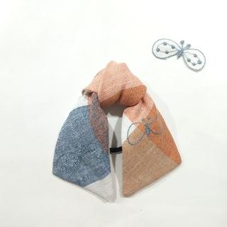 ミナペルホネン(mina perhonen)のミナペルホネン ハンドメイドロングリボンヘアゴム choucho check2(ヘアアクセサリー)