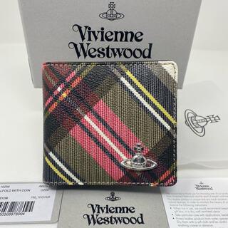 Vivienne Westwood - 新品☺︎Vivienne Westwood  二つ折り財布 チェック 赤 黒