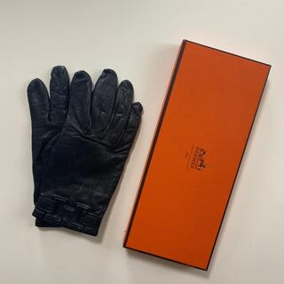 Hermes - ユーズド エルメス Hermès レディース レザーグローブ 黒革手袋 サイズ7