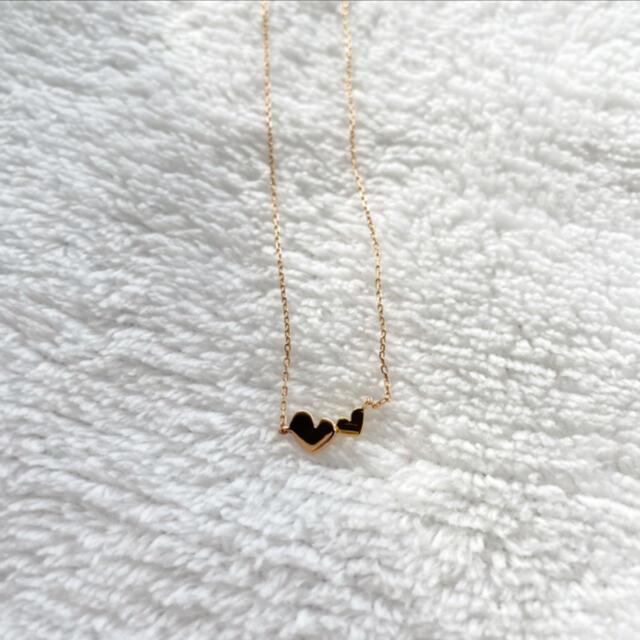 ete(エテ)のete K10 ダブルハートネックレス PG YG レディースのアクセサリー(ネックレス)の商品写真