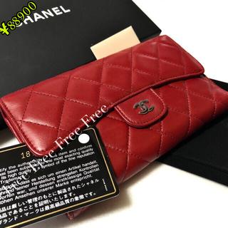 CHANEL - シャネル、折財布、三つ折り、CHANEL、財布、長財布、ウォレット、ラムスキン