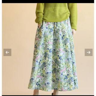 IENA - IENA かすれフラワーギャザースカート サックスブルー 40