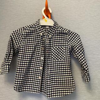 MUJI (無印良品) - ギンガムチェックシャツ 90 ネイビー×ホワイト