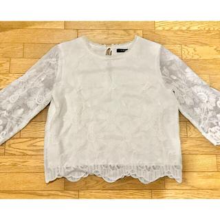ダブルクローゼット(w closet)のw closet 刺繍入りチュールレースプルオーバー(シャツ/ブラウス(長袖/七分))
