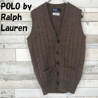 POLO RALPH LAUREN - 【人気】ポロ ラルフローレン ケーブルニット ベスト クルミボタン ブラウン S