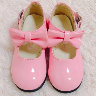 シャーリーテンプル(Shirley Temple)の新品シャーリーテンプルピンクリボン靴エナメル15㎝フォーマルシューズ メゾピアノ(フォーマルシューズ)