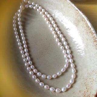 パール ネックレス 本真珠 淡水パール 2連