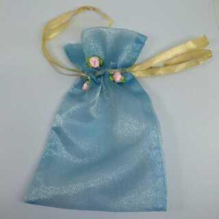 オーガンジー 巾着 小物入れ お花 付き ラッピング 小物 収納 1枚 ブルー(カード/レター/ラッピング)
