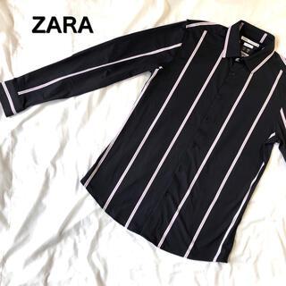 ZARA - ZARA ザラ ストライプシャツ ドレスシャツ フォーマル 柄シャツ 総柄シャツ