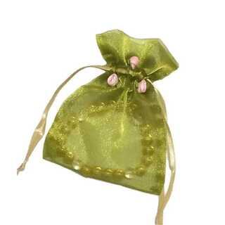 オーガンジー 巾着 小物入れ お花 付き ラッピング 小物 収納 1枚 グリーン(カード/レター/ラッピング)